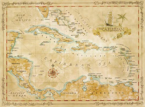 One Treasure Limited Antique Vintage Old World Caribbean Islands Map