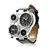Firewings OULM Mens Watch Military Army Dual Time Zones Movements Big Dial Leather Sports Watches