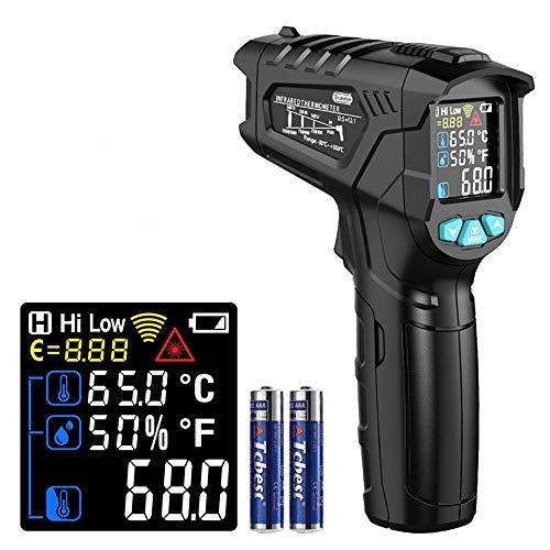 Infrarot Thermometer, Dr.meter Digital Laser Infrarot Thermometer berührungslos Temperaturmessgerät Temperaturmesser, -50°C bis 550°C mit Farbe lcd Alarmfunktion Einstellbarer