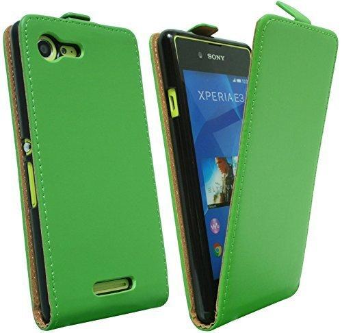 ENERGMiX Klapptasche Schutztasche kompatibel mit Sony Xperia E3 (D2203) in Grün Tasche Hülle