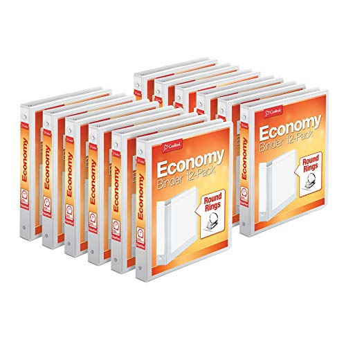 Cardinal Economy 3-Ring Binders, 1', Round Rings, Holds 225 Sheets, ClearVue Presentation View, Non-Stick, White, Carton of 12 (90621)