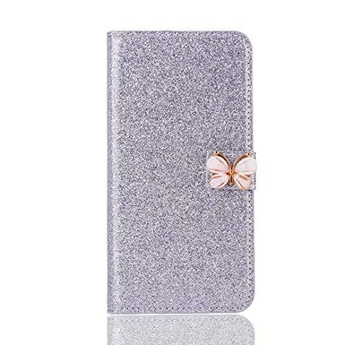 Funda para Samsung Galaxy A11 hecha a mano con gemas de cristal con purpurina y mariposa, color morado y blanco