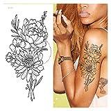 Tatuajes Temporales Impermeables 2 PCS Tatuajes de brazalete temporal Impermeable Tatuaje temporal Pegatina Flor Lotus Manga de Tatuaje Mujer Muñecas Muñecas Mangas Tatoo Fake Girl para mujeres, hombr