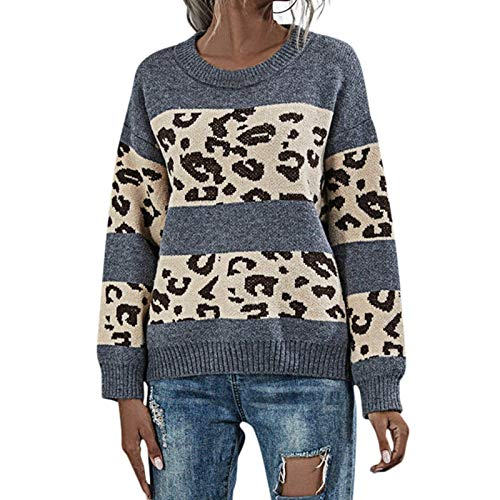 PUAMAC Damen Strickpullover Sweatshirt Langarm Pullover Mit Rundhalsausschnitt Leopardenmuster Stitching Patchwork Warme Thermo Loose Tunika Color Block Tops