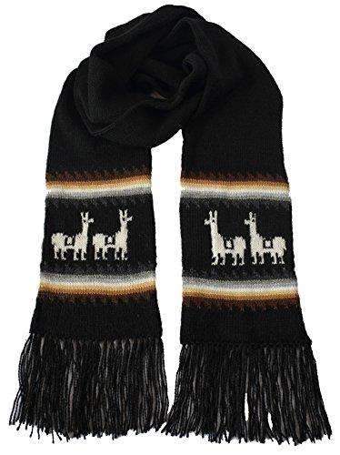 Gamboa Alpaka Schal Schwarz Wollschal Made in Peru Llamitas Winterschal Peru Schal warm und weich - Schwarz - Einheitsgröße