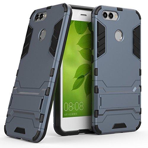 Ougger Handyhülle für Huawei nova 2 Hülle Schale Tasche, Schutz Schon [Kickstand] Leicht Armor Hülle Schutz SchutzHülle Cover Hart PC + Soft TPU Gummi Haut (Schwarz)