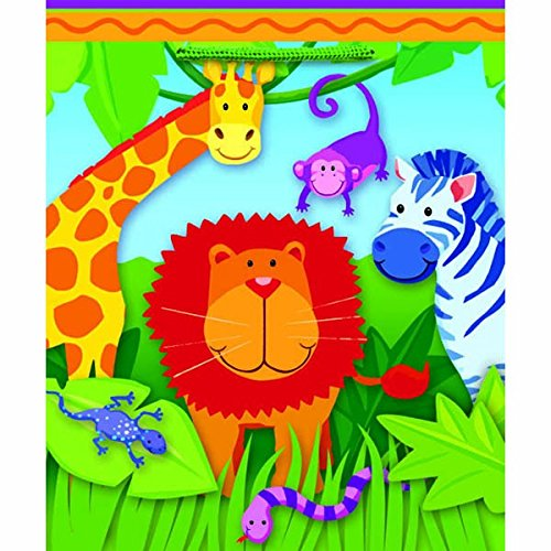 amscan Colorful Wild Kingdom Medium Glossy Bag (1 Piece),, Multicolor