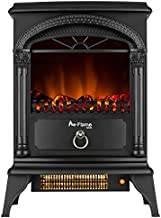 e-Flame USA Hamilton Freestanding Electric Fireplace Stove - 3-D Log and Fire Effect (Black)