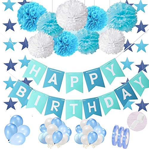 Birthday Decor Blue for First Boy Set: Happy Birthday Banderín Garland Banner con pompones de papel de seda y 30 globos Guirnalda para 1.2.3.5 años Fiesta de cumpleaños del hijo del niño Decoración