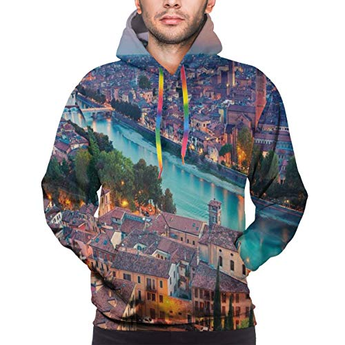 Men's Hoodies Sweatershirt,Verona Italy During Summer Sunset Blue Hour Adige River Medieval Historcal,XL