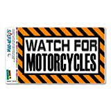 Graphics and More Watch for Motorcycles Orange - Caution Warning Automotive Car Refrigerator Locker Vinyl Magnet
