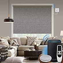 Graywind Motorized Shades 100% Blackout Compatible with Alexa Google WiFi Hardwired Smart Roller Shade Remote Control Automated Window Blinds with Valance, Customized Size (Grey Brown)