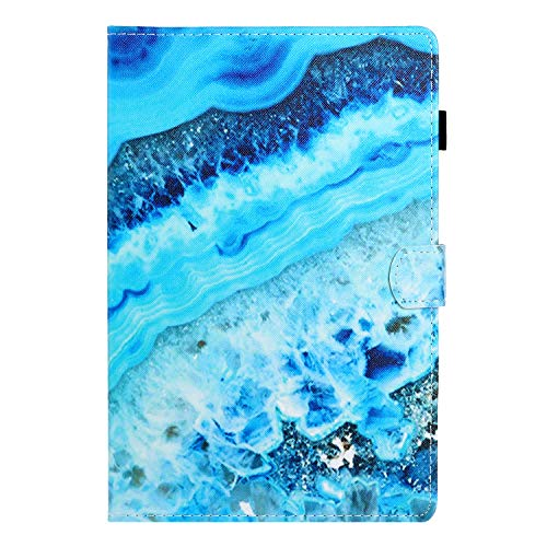 Jorisa Hülle Kompatibel mit Samsung Galaxy Tab A 10.1 2019 T510/T515,Slim Leicht Leder Brieftasche Stand Schutzhülle Flip Magnetverschluss Schale mit Stifthalter Kartenfächer,Blau Marmor