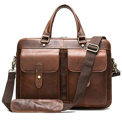 Men's Handbags Leather Large Capacity Shoulder Bag 15 inch Business Computer Bag-Red-Brown