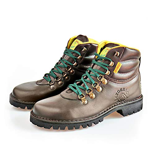 Jim Green Razorback Boots for Men Lace-Up Water Resistant Full Grain Leather Work or Hiking Boot (Brown, 10)
