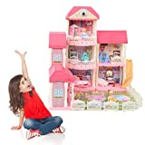 Dream Villa DIY Dollhouse Dollhouse Juguetes para niños para habitaciones y dormitorio de niños Doll Villa Juguetes creativos para niños Fiesta de cumpleaños Regalo Decoración del hogar 73 x 70 x 70cm