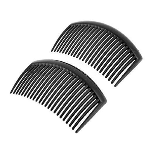 TOSSPER 2PCS Plastique Noir 20 Dents Peigne Coiffure Pince à Cheveux pour Les Dames