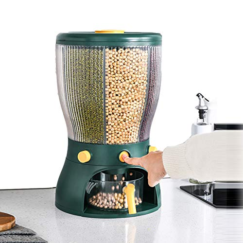 YXXHM- Giratorio Plástico Alimentos Secos Caja Almacenamiento La Cocina Dispensador Contenedores Tapa Hermética Botes Almacenaje para Espagueti/Pasta/Frijoles/Especias White