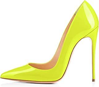 da80fbf20482 onlymaker Women s Sexy Pointed Toe High Heel Slip On Stiletto Pumps Large  Size Basic Shoes