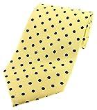 Soprano - Corbata de seda, diseño de lunares, color amarillo y negro