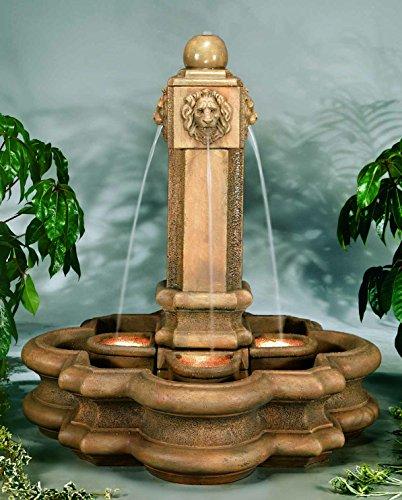 Henri Studio Classic Lion Pillar Fountain - Stone Finish