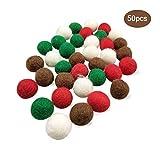 Blmusi 50pcs 20 mm (0.79 inch) Handmade Pure Wool Balls Flocking Beads Christmas Decoration DIY Manual Craft...