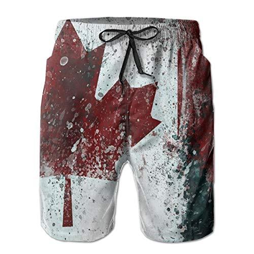 Canada Flag Vintage Beach Board Shorts Quick Dry Beach Swim Trunks with Mesh Lining Swim Beach Shorts for Men White