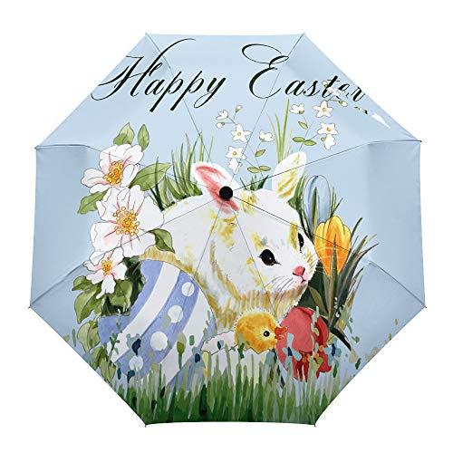 Umberlla-Happy Semana Santa - Conejo Plegable en los arbustos con Huevos, al...
