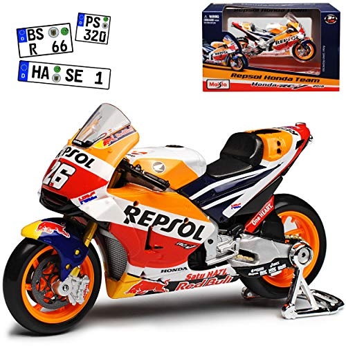 Hon-da RC123V GP18 MotoGP Nr 26 2018 Dani Pedrosa 1/18 Maisto Modell Motorrad mit individiuellem Wunschkennzeichen