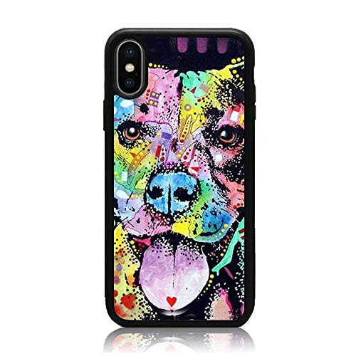 iPhone Xs Max Case, Soft TPU & Hard Back Shock Absorption Protective Case for iPhone Xs Max 6.5 Inch Colorful Art Pitbull Painting