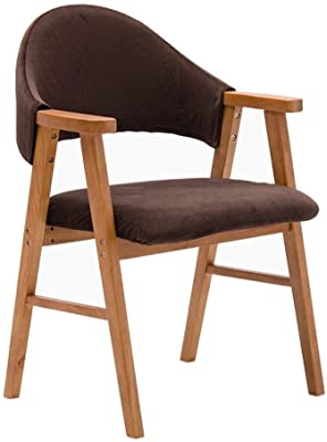 HTDZDX Kitchen Dining Chairs Solid Wood Dining Chair Hippo Heavy Back Support and Armrest Furniture Table Chairs Casual Reception Chair - Brown Suede Dining Room Furniture