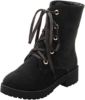 Women Winter Warm Boots, Ladies Solid Lace up Round Toe Square Heel Suede Snow Boots