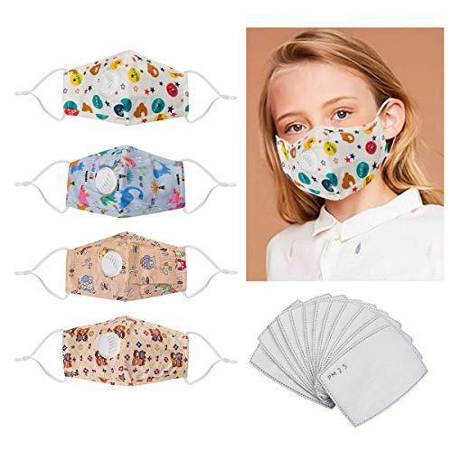 4 niedliche waschbare Abdeckungen gegen Staub, Rauch, atmungsaktiv, Nasen- und Mundschutz mit 12 austauschbaren Aktivkohlefilter für Kinder