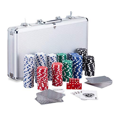 Relaxdays Pokerkoffer, 300 Laser Pokerchips, 2 Kartendecks, 5 Würfel, Dealer Button, Aluminiumkoffer abschließbar, silber