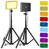 2 Packs Video Lighting Kit, Sutefoto Led Light for Video Photography, Starter Light Kit with Two Adjustable Tripod, Dimmable Brightness and Color Temperature, Changeable 9 Color Filters