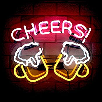Cheers Real Glass Neon Signs Beer Bar Club Bedroom Neon Lights for Office Hotel Pub Cafe Man Cave Wedding Birthday Party Man Cave Neon Light Art Wall Lights 14.5  x 12