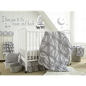 Levtex Baby – Willow Crib Bed Set – Baby Nursery Set – Grey – Soft Rosette Pintuck – 5 Piece Set Includes Quilt, Fitted Sheet, Diaper Stacker, Wall Decal & Crib Skirt/Dust Ruffle