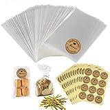 100pcs Petit Sac Sachet Bonbon Pochette Transparents avec 100 Merci Étiquettes et Liens,S...