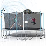 Tatub 1000LBS 16FT Trampoline for Kids, Outdoor Trampoline with Safety Enclosure Net Basketball Hoop and Ladder, Trampoline for Adults (Light Grey)