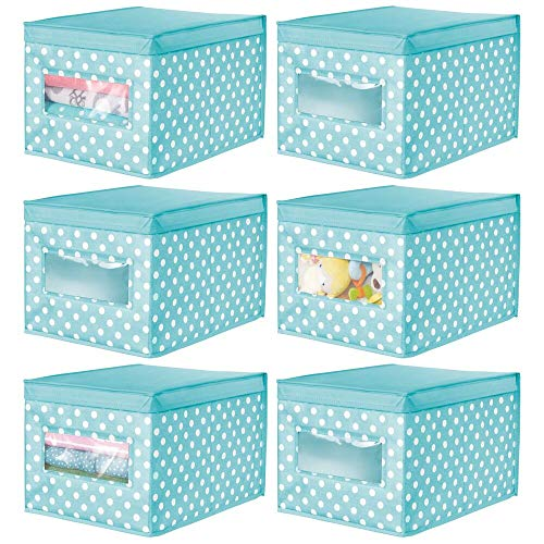 mDesign 6er-Set Aufbewahrungsbox aus Stoff – stapelbare Stoffbox zur Ablage von Kleidung oder Schuhen und als Schrankbox – Aufbewahrungskiste mit Deckel und Sichtfenster – violett/weiß