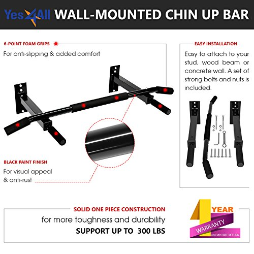 Yes4All Wall Mount Chin Up Bar (Bar New), Large (YWQ4)