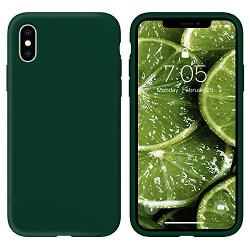 Oihxse Silicone TPU Gommage Case Compatible pour iPhone 11 Coque Ultra Fine Souple Protection Housse Mignon Couleurs Bumper Étui Anti-Rayures Cover(Vert foncé)