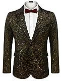 COOFANDY Men's Sequin Blazer Suit Jacket Slim Fit One Button Fashion Tuxedo Jacket for Dinner Party Wedding Prom (Golden, Medium)