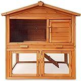 Zooprimus Cage Clapier lapin Extérieur en bois Haute Qualité pour lapins petits animaux 104 x 52 x 100 cm