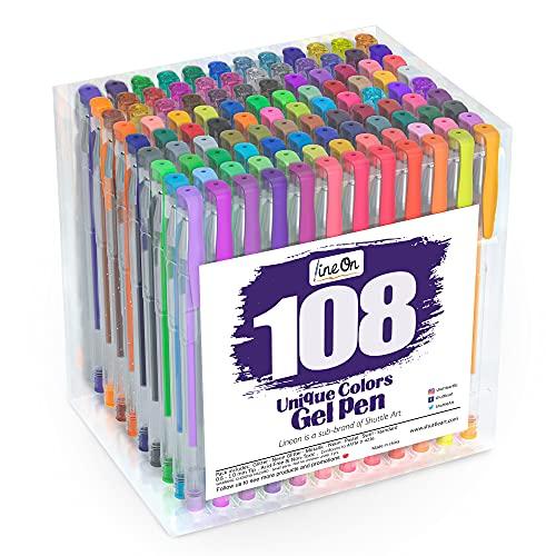 Lineon Juego de bolígrafos de gel de 108 colores para adultos, para libros de colorear, marcadores de arte