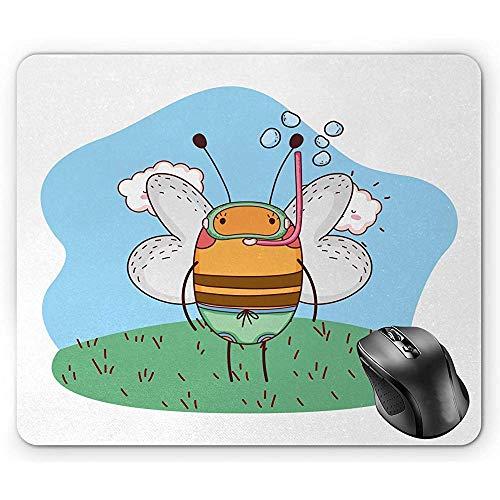 Bienen-Mausunterlage, lustige Cartoon-Art-Figur, die eine Schnorchel-und Schlüpfer-blasse himmelblaue und Mehrfarbenmausunterlage trägt