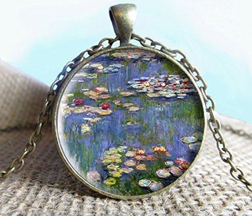 Claude Monet - Colgante de pintura de nenúfares para collar, joyería de bellas artes, colgante de imagen, colgante de cristal, regalo