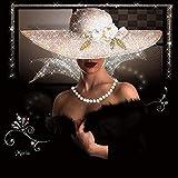 GV DIY Diamant Gemälde Frau mit Hut, Diamant Gemälde, komplettes Bohrer-Set für Erwachsene, Stickerei, Kreuzstich, Kunst, Handwerk für Wanddekoration (30 x 30 cm) Quadratischer Diamanten