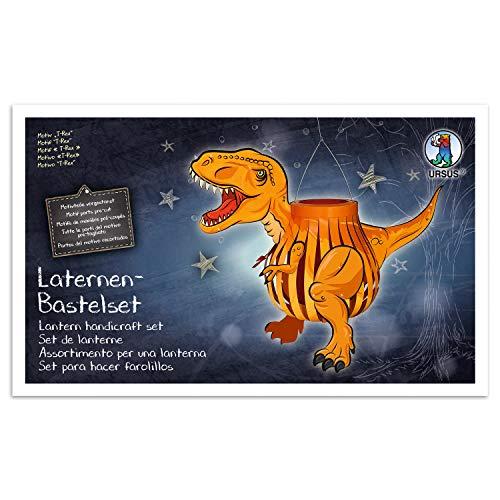 URSUS 18720013F Laternen-Bastelset T-Rex, Laternendeckel, Laternenboden, Transparentpapier 115 g/m², 25 Papierstreifen, Laternentragebügel, Diverse Stanzteile und Zubehör, bunt, one Size