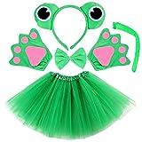 vamei 5 Piezas Diadema de Animal Bowtie Tail Guantes Tutu Set para niños Halloween Dress Up (Rana)